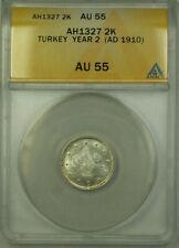 1910 Turkey Year 2 AH1327 Silver 2 Kurus Coin ANACS AU 55 KM#749
