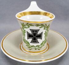 KPM Berlin WWI Iron Cross & Green Wreath Grey & Gold Empire Form Cup C 1914 - 18