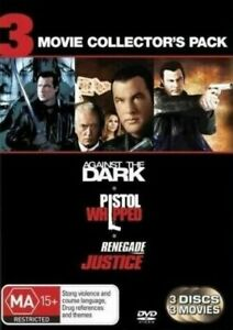Steven Seagal 3 Movie DVD Against The Dark + Pistol Whipped + Renegade Justice
