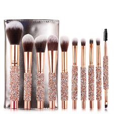10Pcs Makeup Brushes Powder Foundation Pencil Woman Fashion Diamond Brush & Bag