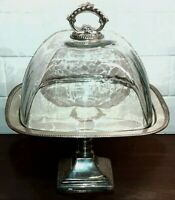 Vintage Cake Plate Stand - Silver Plate with Hand Blown Glass - by Godinger
