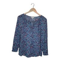 Womens Lucky Brand Floral Paisley Peasant Blouse Shirt Top Long Sleeve S Small
