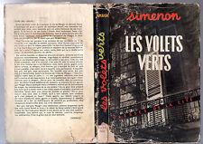 GEORGES SIMENON ¤ LES VOLETS VERTS ¤ EO 1950 PRESSES CITE avec JAQUETTE