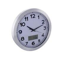 Horloge Murale En Aluminium Avec Écran Lcd - Thermomètre, Hygromètre Et Prévisi