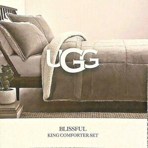 NWT UGG Luxurious King Comforter Set Blissful Classic Reversible Seal/Sherpa
