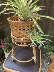 Vintage Retro Boho Tiki Bamboo Wicker Tripod Basket Planter Plant Pot Holder
