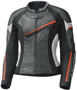 -HELD- Debbie II Ladies Leather Motorcycle Jacket Fitted Black White Red Sport