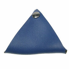 Royal Blue (Flower Emboss) Leather Triangle Press Stud Wallet Coin Purse UK Made