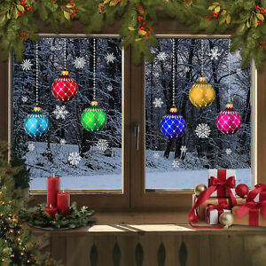 Christmas stained glass Bauble snowflakes Window Stickers Clings Reusable CLING