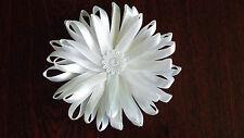 UK-Large,White - Satin Ribbon Flowers-  Appliques,Trimmings ,Wedding- 90mm x 1