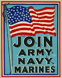 Join Army Navy Marines Recruitment Poster (1917)