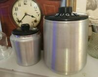 Vintage Kromex Canisters Large Sugar & Tea Spun Aluminum Black Lid Mid Century