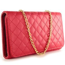 For LG Volt 2 Wallet Case - Red Purse Quilted Bag Mirror Pouch