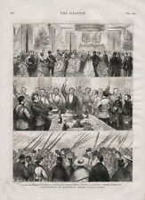 OLD 1875 PRINT CELEBRATIONS ON WITHDRAWAL OF EUROPEAN TROOPS FROM JAPAN b41