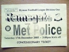 Tickets- Ryman League Division One- RAMSGATE v MET POLICE, 17 December