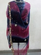Indian Vintage Chiffon Heavy Multi Color Dupatta Stole Beaded Work Stole