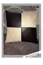 Accent Decorative leather pillow black ivory fabric throw cushion case cover