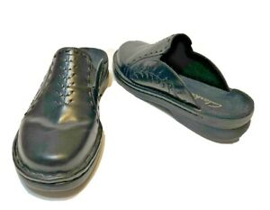Clarks Womens Black Leather Mules Clogs Size 8M Slip On 79513 New