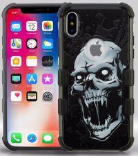 For iPhone X - HARD RUGGED HYBRID ARMOR CASE COVER BLACK GRAY VAMPIRE SKULL HEAD