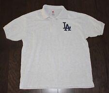 LOS ANGELES DODGERS Polo Shirt Men's LARGE L Gray LA Hanes vtg 90s L.A. Baseball