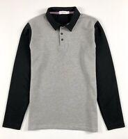 CALVIN KLEIN Polo Shirt Men's Body Fit Long Sleeve Grey / Black Colour Block