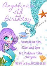 Diy Print Custom Mermaid Tropical Starfish Birthday Party Invitations
