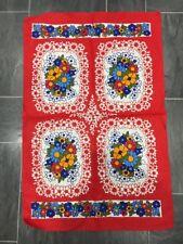 VINTAGE IRISH LINEN RED TEA TOWEL MULTI COLOUR FLORAL DESIGN - UNUSED