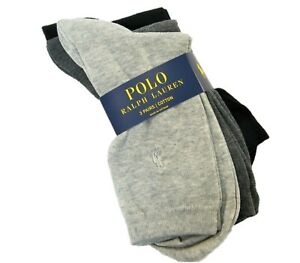 3 PR Ralph Lauren Ladies Socks Crew Embroidered Poly Pony Grey Charcoal Black