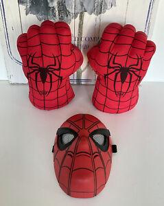 Hasbro Spiderman Mask & Spiderman Plush Smash Hands Gloves Bundle