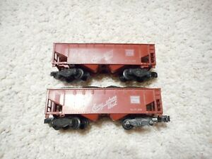 S SCALE AMERICAN FLYER #921 CB&Q HOPPERS WITH COAL LOADS