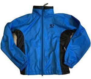 Pearl Izumi Activent Full Zip Jacket Mens Small Blue Stow Away Hood Zip Pockets