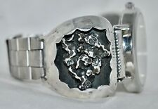 Vintage Sterling Silver Black Hills Nugget Style Watch Band w/Working Timepiece