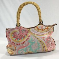 G.H. Bass & Co Pink Paisley Purse With Bamboo Handles