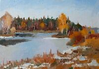ORIGINAL Impressionist Winter Landscape Painting, Oil on Canvas Board, Small Art