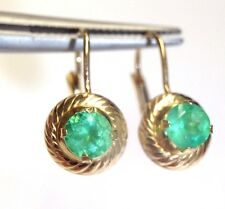 1.03 CTW Round Colombian Emerald 14K Yellow Gold Leverback Earrings