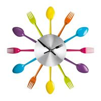 Cutlery Wall Clock Multi-coloured Metal Stylish Design Kitchen Living Room New