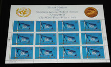 U.N.2001, NEW YORK, #816, NOBEL PEACE PRIZE, PANE OF 12, MNH, NICE!! LQQK!!