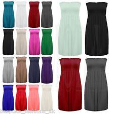 Women's Elasticated Shirring Gathered Strapless Boob Tube Ladies Mini Dress Top