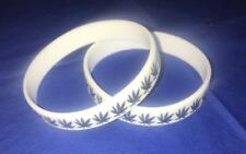 6 Silicone Wristbands Leaf Cannabis Weed Rubber Bracelet White with Black Leaf