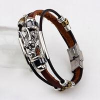 Leather Men Accessoires Tibetan Silver Male Bracelet Parataxis Dragon Multilayer
