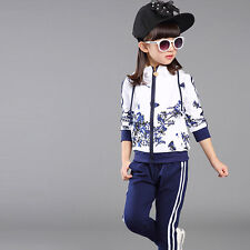 Girls Sets Coat Pants Fashion Foral Sports Hooded Suits Kid Clothes Blue 6-7Y