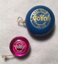 Vintage Ja-Ru Wooden Yo-Yo Blue And A Mini Ja-Ru Yo-Yo Pink