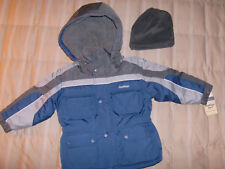 Oshkosh NWT Blue & Gray Winter Jacket with Zip-On Hood & Fleece Cap 4 Boy