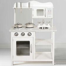 Kids Wooden Play Kitchen in White Children's Role Play Pretend Set Toy Kitchen