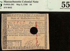 1780 $4 Four Dollar Bill Colonial Currency Note Paper Money Fr Ma-281 Pmg 55
