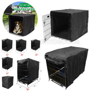 Outdoor Dog Crate Pet House Cage Kennel Waterproof Cover Black For 22-48 inch