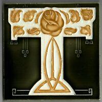 Old Gold Rose olive Original period antique 6x6 Art Nouveau Majolica Helman tile