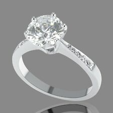 3/4 CT Diamond Enhanced Engagement Ring Round D-F/VS2-SI1 18K White Gold