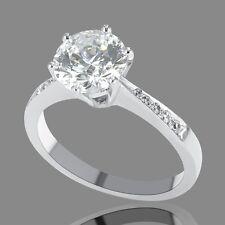 3/4 CT Diamond Enhanced Engagement Ring Round D-F/VS2-SI1 18K White Gold
