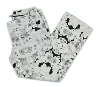 Mossimo Womens Black White Floral Stretch Cropped Pants sz 8